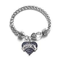 Inspired Silver Matron of Honor Navy Blue Pave Heart Bracelet - $13.71