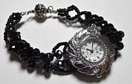 "Black Beaded Watch 7.5"" - $15.00"