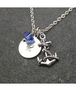 Anchor Necklace Personalized Initial Disk Swarovski Birthstone Crystal J... - $19.99+