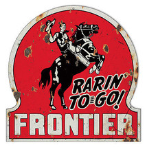 Distressed Frontier Motor Oil Laser Cut Out Reproduction Metal Sign - $49.50