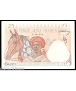 "FRENCH WEST AFRICA P27 ""TURBAN MAN W/ HORSE"" 25 FRANCS 1942 RAW XF CONDI... - $275.00"