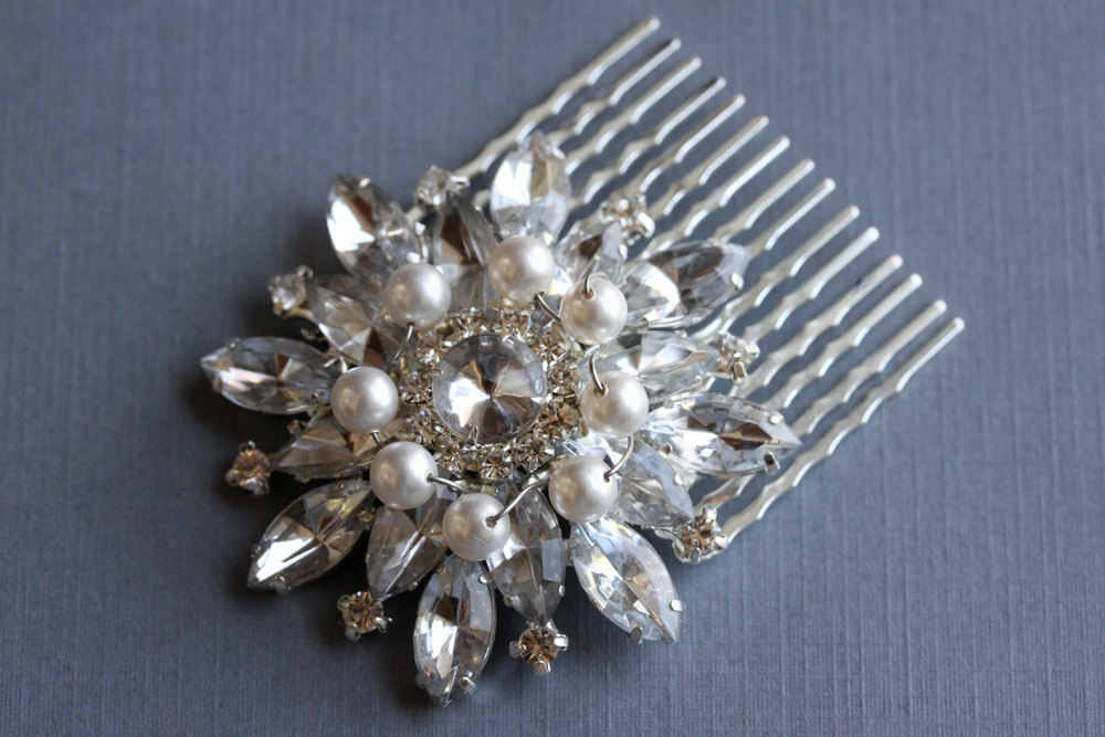 Rhinestone Bridal Hair Brooch Comb  - Pearl and Silver Comb - Bridal Hair Access