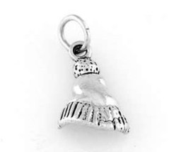 STERLING SILVER SNOW SKI SKIING HAT CAP CHARM - $7.78