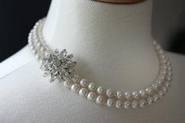 Bridal Necklace, Pearl Rhinestone Necklace, Wedding Necklace, Wedding Jewelry - $89.00