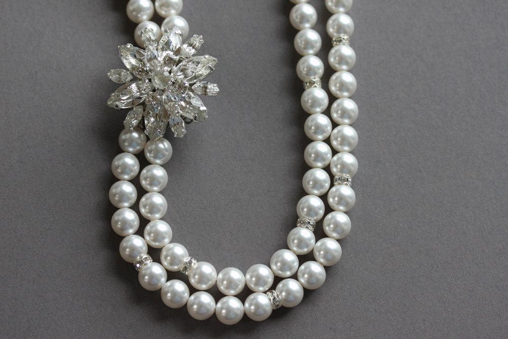 Bridal Necklace, Pearl Rhinestone Necklace, Wedding Necklace, Wedding Jewelry