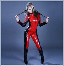 Red Black Shiney Wet Look Vinyl PU Leather Zip Around Back to Mid Front Catsuit