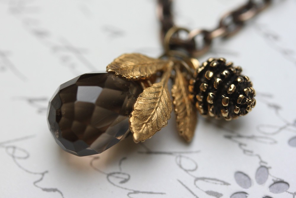 Smokey Topaz Necklace , Pine Cone and Golden Leaf Necklace, Brown Gemstone Neckl