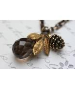 Smokey Topaz Necklace , Pine Cone and Golden Leaf Necklace, Brown Gemsto... - $38.00