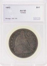 1843-P AU About Uncirculated S$1 Seated Liberty Dollar Silver U.S. Coin - $799.95