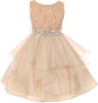 Flower Girl Dress Sequin Lace Top Ruffle Skirt Champagne MBK 357 - $43.56+