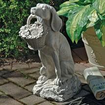 Dog w/Flower Basket Statue Sculpture Figurine Garden Yard Decor Ornament... - $127.32