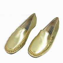DANIEL GREEN Gold Kidskin Leather Moc Toe Comfort Shoe Slippers Size 7 M... - $34.64