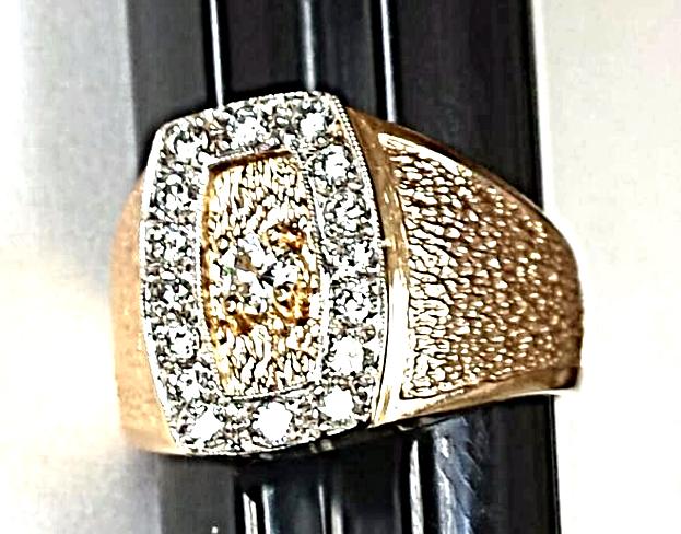 "'GO FIRST CLASS' Men's DIAMOND Ring (.63CTw) NEW 14K ""Leather-Grain"" Finish"