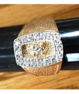 "'GO FIRST CLASS' Men's DIAMOND Ring (.63CTw) NEW 14K ""Leather-Grain"" Finish - $895.00"