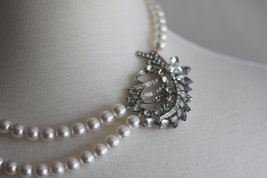 Rhinestone Pearl Necklace,Wedding Necklace, Bridal Jewelry, Pearl Necklace, Crys - $79.00