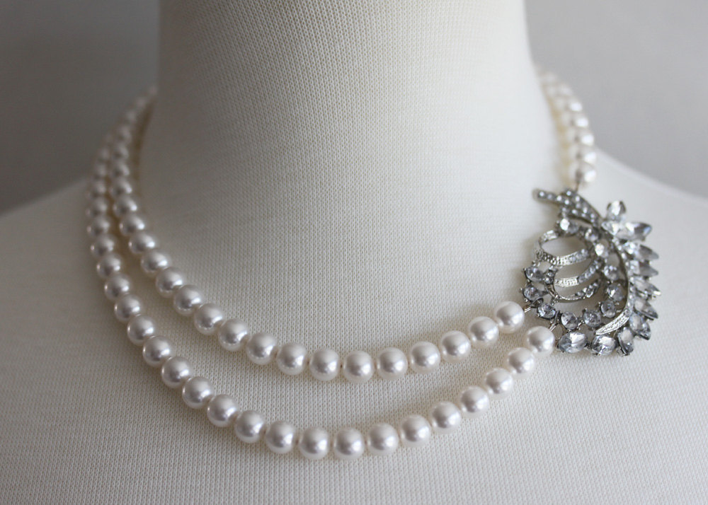 Rhinestone Pearl Necklace,Wedding Necklace, Bridal Jewelry, Pearl Necklace, Crys