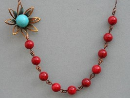 Red Jade Necklace FREE Matching Earrings,Flower Necklace  - $38.00