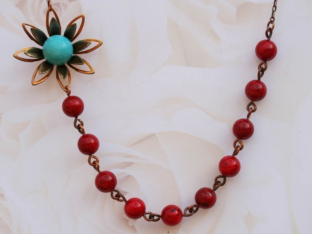 Red Jade Necklace FREE Matching Earrings,Flower Necklace