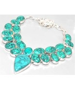 BIG NEW Blue Turquoise 925 Silver Necklace 36cm Gemstone FREE SHIPPING!  - $35.95