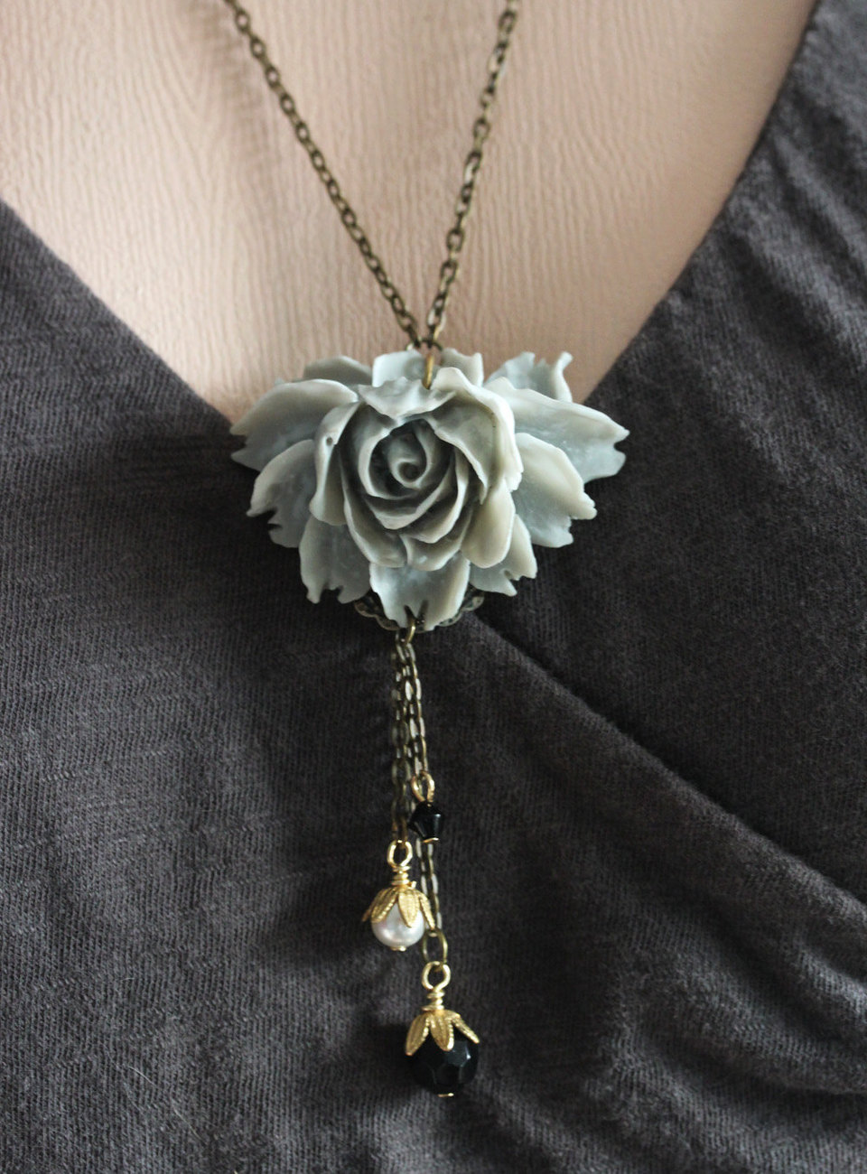 Gray Rose Necklace , Gray Necklace, Gray Flower Necklace, Vintage Flower Jewelry