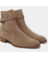 New Men's Handmade Jodhpurs Beige Suede Buckle Boot - $166.73+