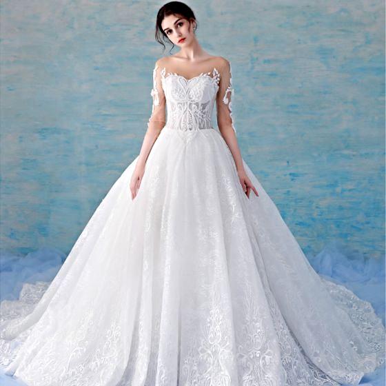 Stunning Illusion White See-through Wedding Dresses 2018 A-Line ...