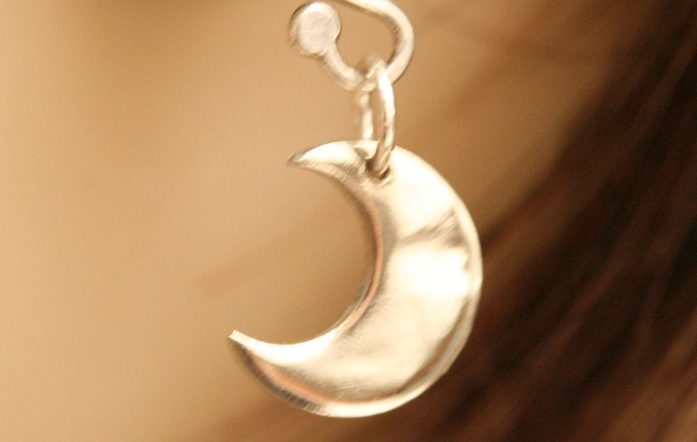 Crescent Moon Earrings , Sterling Silver or Gold Filled , Tiny Earrings - Everyd
