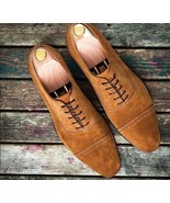 Goodyear Welted Men's Tan Color Suede shoes, Men's Cap Toe Lace Formal U... - $149.99+