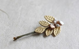 Golden Leaf Hair Pin Pearl Bobby Pin Bridal Hair Pin - $17.00