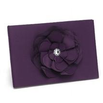 Dark Purple Satin Guest Book With Flower Accent - $41.95