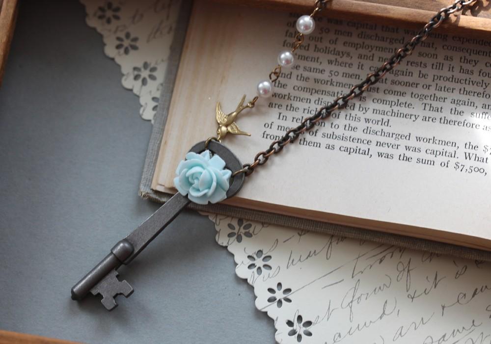 Necklace Jewelry Antique Skeleton Key Necklace Authentic Antique Skeleton Key an