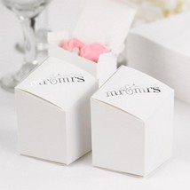 Mr. & Mrs. Prism White Favor Boxes - 2x2x3 - Package of 125 - £68.50 GBP
