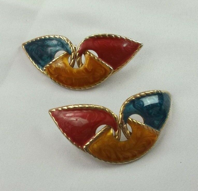 Primary image for VINTAGE GOLD TONE MULTI-COLOR ENAMEL PIERCED EARRING (R)