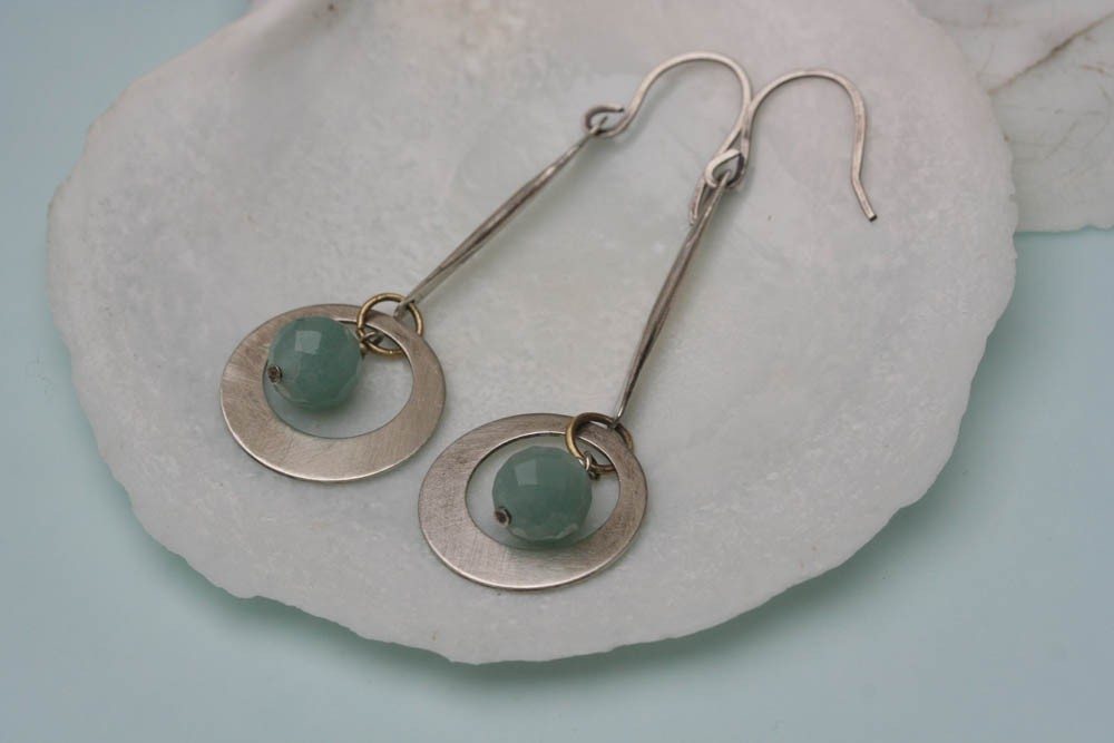 Hoop Sterling Earrings , Sea Green  Earrings, Sterling Silver Earrings