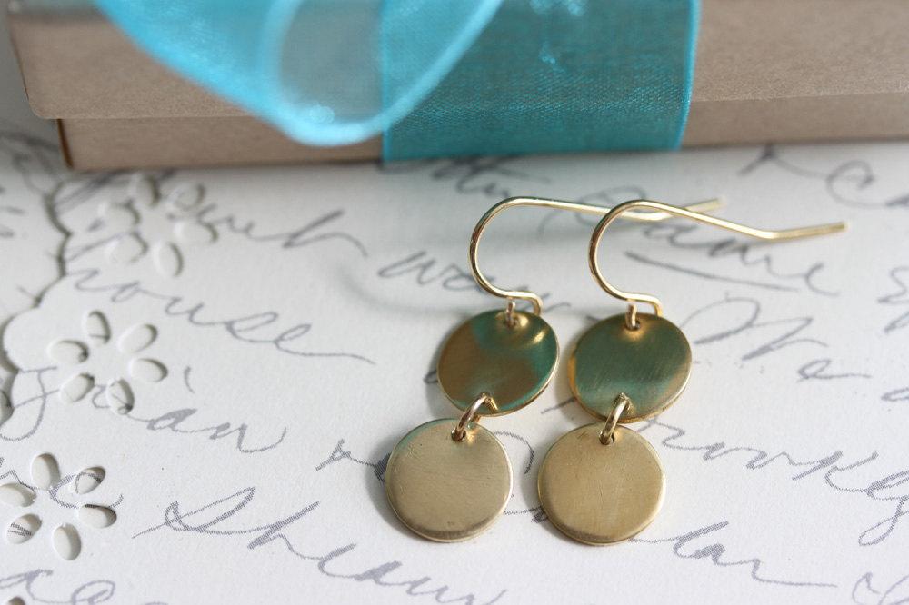 Disc Earrings, Twin Disc Earrings , Everyday Earring ,14 Karat gold filled