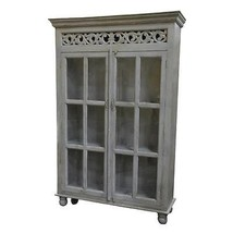 Gorgeous Mango Wood  Antique Gray,Glass Showcas... - $1,658.25
