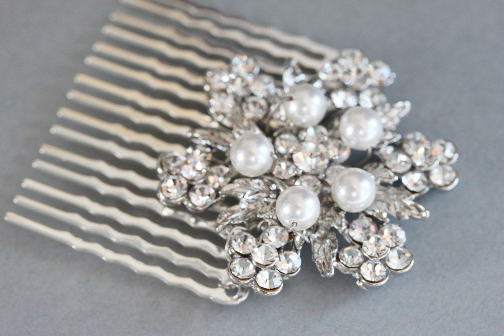 Bridal Rhinestone Hair Comb - Pearl and Silver Comb - Bridal Hair Accessories -