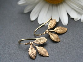 Leaf  Earrings - Golden leaf Earring - Small Branch Earrings - Woodland jewelry - $18.00