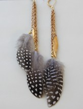 Feather  Earrings Metal feathers Long Feather Earrings Boho Jewelry - $26.00