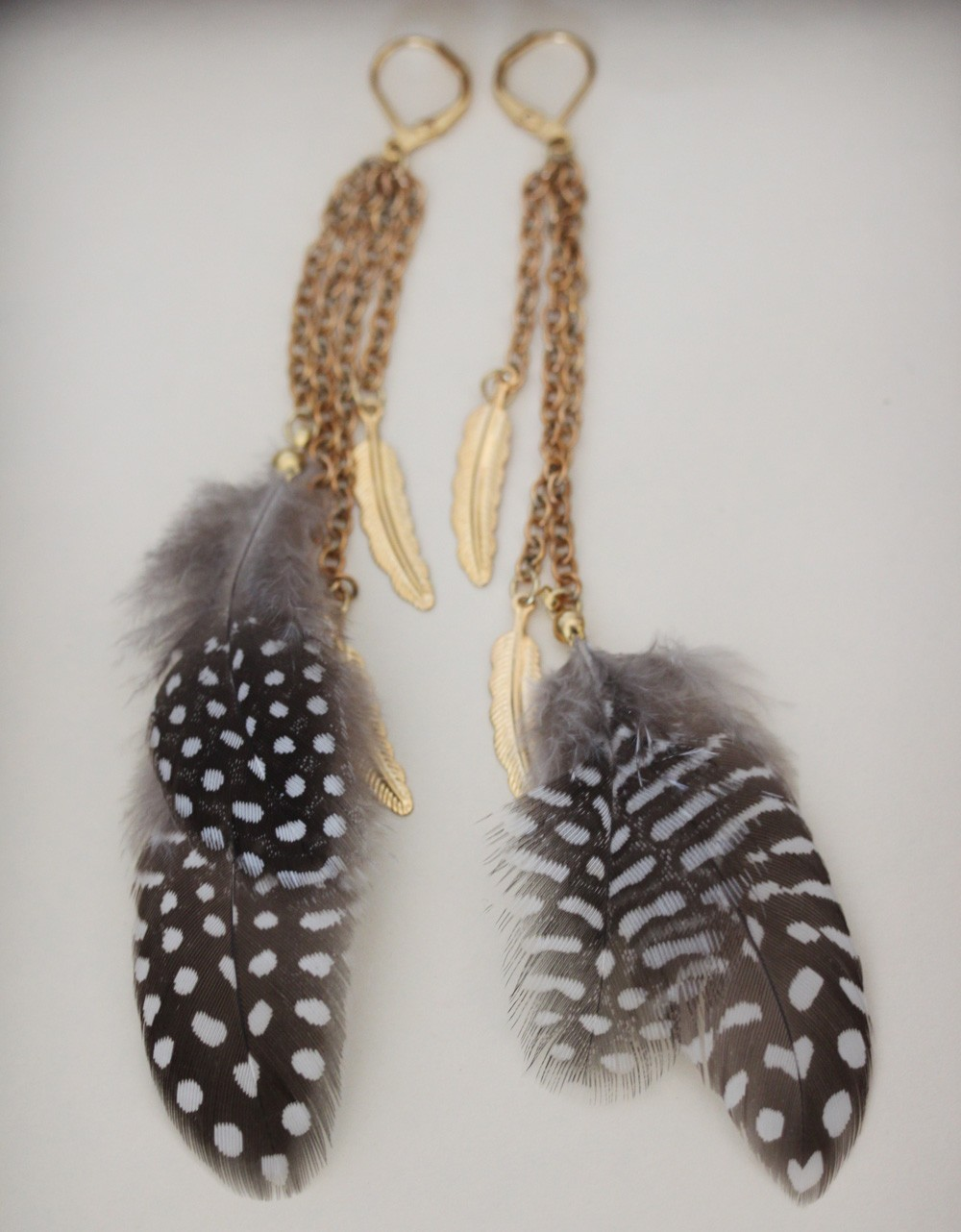 Feather  Earrings Metal feathers Long Feather Earrings Boho Jewelry