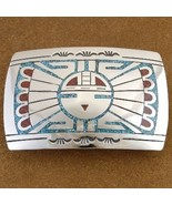 Sun Face Belt Buckle Sterling Silver Turquoise Coral Chip Inlay - $215.87
