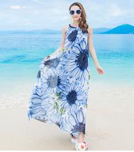 PF003 Bohemia beach long dress w sunflower printed, chiffon, size S,M,L,  - $39.90