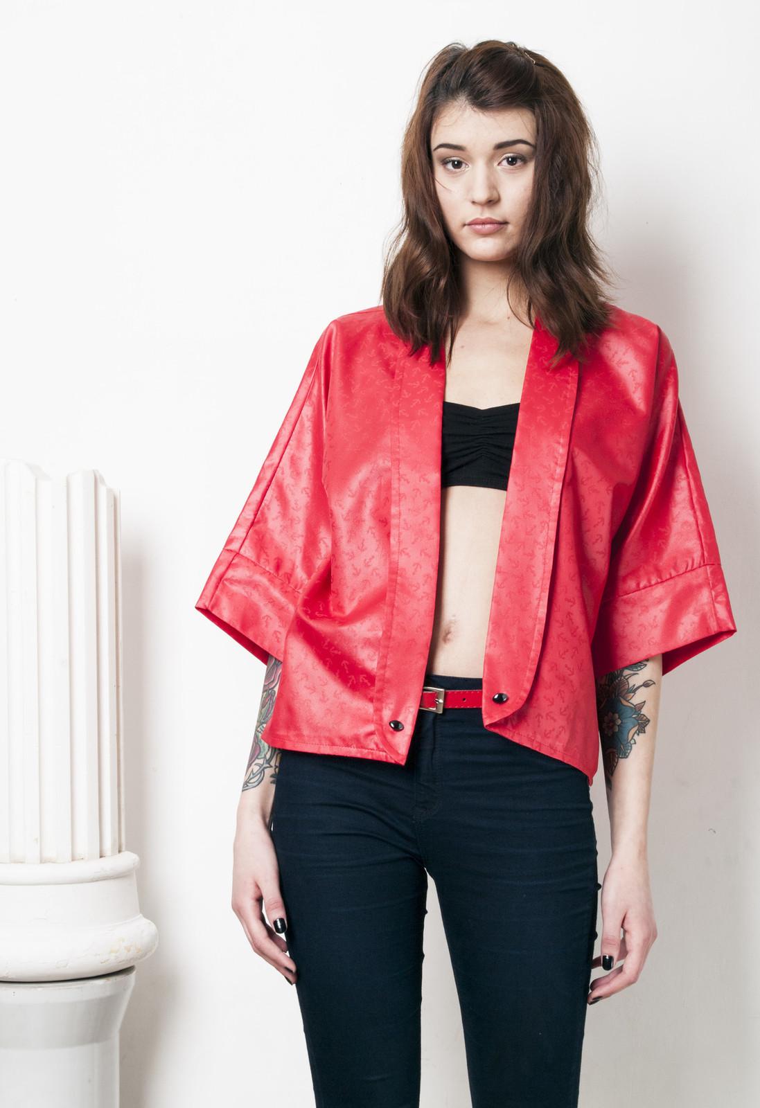 Red sailor blazer 80s vintage kimono - $31.75