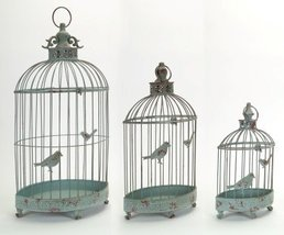 Set of 3 Teal Antique-Style Oblong Birdcage Decorative Candle Holder Lan... - $123.35