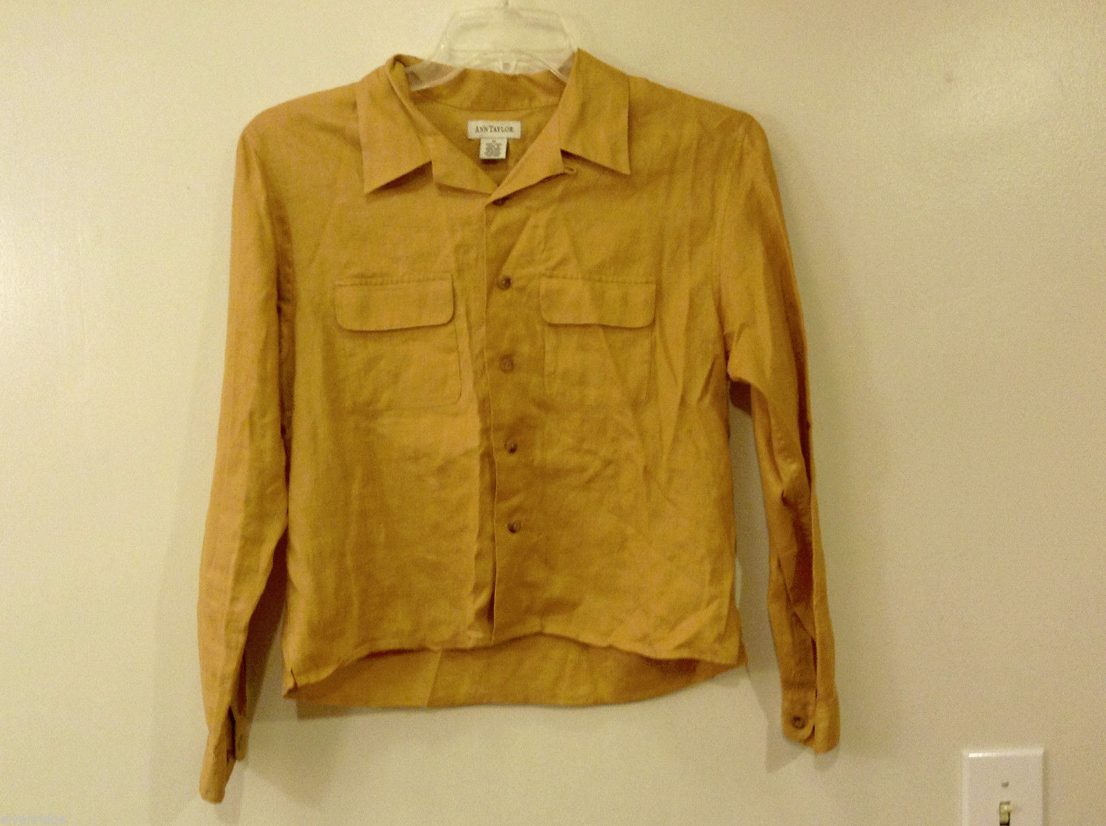 Ann Taylor Women's Size M Utility Shirt Button-Down 100% Linen Mustard Yellow