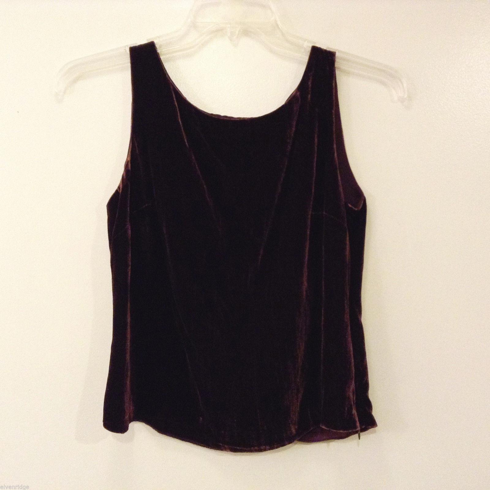 Josephine Chaus Women's Size 6 Velvet Shell Tank Top Dark Brown-Maroon Crew Neck