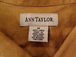Ann Taylor Women's Size M Utility Shirt Button-Down 100% Linen Mustard Yellow image 2
