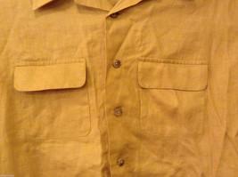 Ann Taylor Women's Size M Utility Shirt Button-Down 100% Linen Mustard Yellow image 4