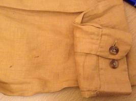Ann Taylor Women's Size M Utility Shirt Button-Down 100% Linen Mustard Yellow image 7