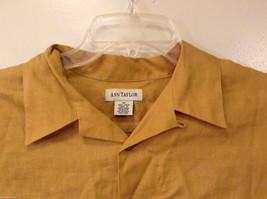 Ann Taylor Women's Size M Utility Shirt Button-Down 100% Linen Mustard Yellow image 3